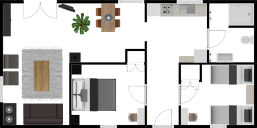 70m2 -2 bedrooms- max. 4 pers.